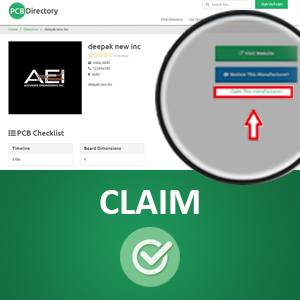 How to claim a manufacturer on PCB Directory
